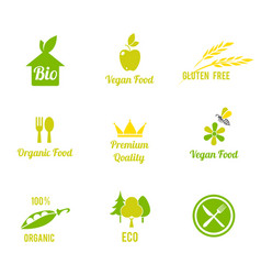 Vegetarian food symbol organic food farm fresh vector