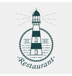 Vintage lighthouse logo rounded by rope or sling vector