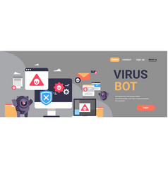 Virus bot robot hacker danger piracy error vector