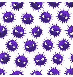 virus seamless pattern cartoon microbes cells vector image