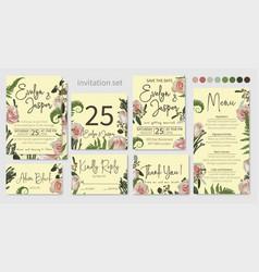 Wedding invitations set floral invitations vector