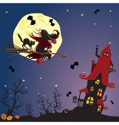 witch and black cat flying on broom vector image
