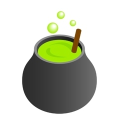 Witch cauldron with green potion vector
