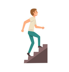 young man in casual clothes walking up stairway vector image