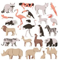 zoo flat animals set tropical and exotic wild vector image