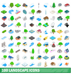 100 landscape icons set isometric 3d style vector image