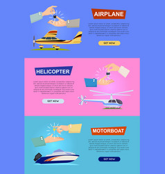 airplane helicopter motorboat hands passing key vector image