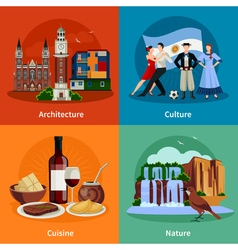Argentina Attractions 4 Flat Icons Square vector image vector image