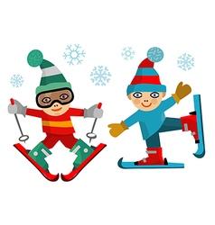 Children skiers vector image vector image