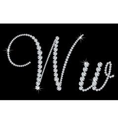 Diamond alphabetic letters of W vector image