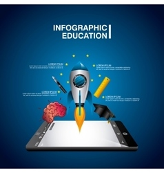 education online infographic with smartphone vector image vector image