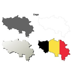 Liege outline map set - Belgian version vector image