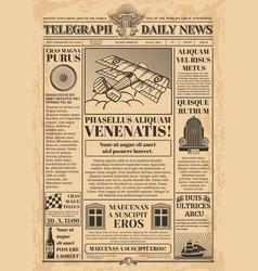 old newspaper template retro newsprint vector image vector image