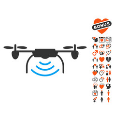 radio transmitter airdrone icon with lovely bonus vector image vector image