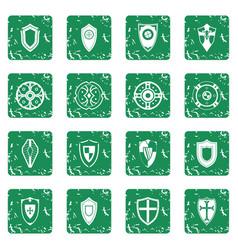 shields set grunge vector image