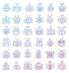 thin line insects icons set color stroke outline vector image