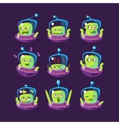 Alien in ufo emoji set vector