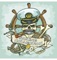 Captain skull logo design - Sailing Collection vector image vector image