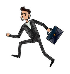 color pencil full body man running with a vector image