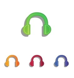 Headphones sign Colorfull applique vector image vector image