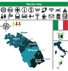 Map of Marche vector image