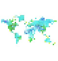 abstarct world map green blue dots vector image