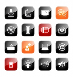communication icon set glossy series vector image vector image