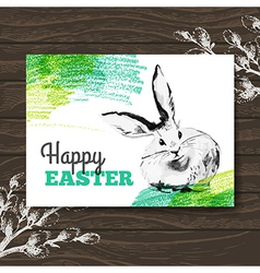Easter card Sketch watercolor Easter rabbit vector image vector image