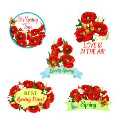 flowers wreath set for spring time quotes vector image vector image