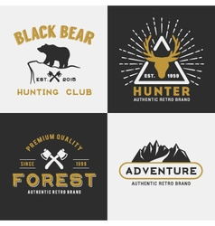 Forest mountain adventure logo design vector image
