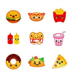Kawaii fast-food vector image vector image