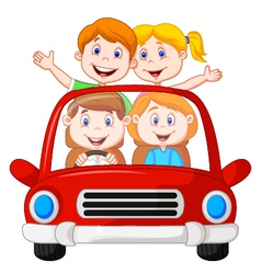 Road Trip with family cartoon vector image