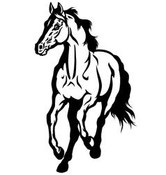 running horse black white vector image vector image