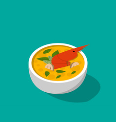 thai soup with shrimp - tom yum kung in 3d vector image vector image