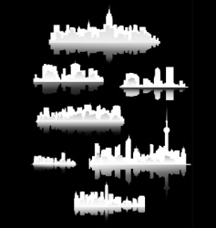 town silhouettes vector image vector image