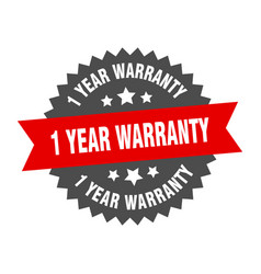 1 year warranty sign 1 year warranty red-black vector