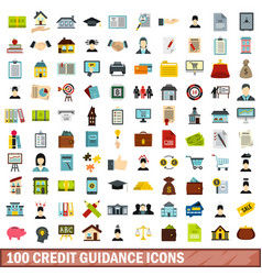 100 credit guidance icons set flat style vector