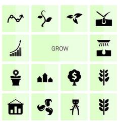 14 grow icons vector