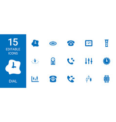 15 dial icons vector