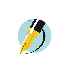 An ink pen Flat colors logo vector