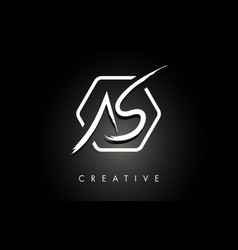 As a s brushed letter logo design with creative vector