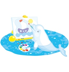 Beluga whale painter vector