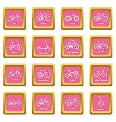 bicycle types icons set pink square vector image