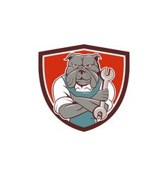 Bulldog Mechanic Arms Crossed Spanner Crest vector
