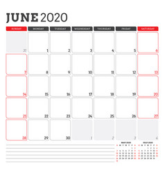 Calendar planner for june 2020 week starts on vector