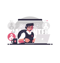 call center employee in workplace vector image