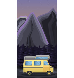 camp car concept banner cartoon style vector image