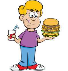 Cartoon boy holding a drink and a large hamburger vector