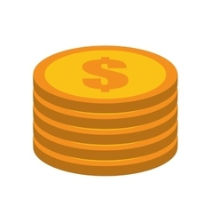 cartoon golden coin pile dollar vector image