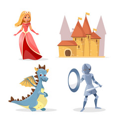 Cartoon medieval fairy tale characters set vector